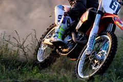 CHERKASSY, UKRAINE - JULAY 7 2017 : rider on Motocross Training of motorcyclists before competitions Ukraine, Cherkassy. CHERKASSY, UKRAINE - JULAY 7 : rider on Stock Images