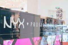 CHERKASY, UKRAINE – 14 October, 2018: NYX decorative professional cosmetics on display. CHERKASY, UKRAINE – 14 October, 2018: NYX royalty free stock images