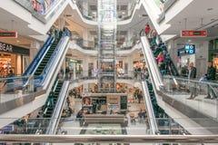 Shopping centre Lubava. Modern mall interior with shops. CHERKASY, UKRAINE – 14 October, 2018: Shopping centre Lubava. Modern mall interior with shops stock images