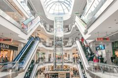 Shopping centre Lubava. Modern mall interior with shops. CHERKASY, UKRAINE – 14 October, 2018: Shopping centre Lubava. Modern mall interior with shops royalty free stock photography