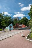 Cherkasy, Ukraine - June 02, 2013: Children`s Park in the city center. Children`s Park in the city center. Scene for outdoor performances Soviet architecture Royalty Free Stock Photo