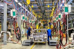 Cherkasy, Ukraine - June 17, 2013: The new production line for the assembly of of cars with modern equipment. Stock Image