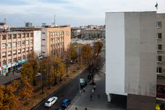 Cherkasy, Ukraine - October 16, 2014: View of Shevchenko Boulevard from the roof. View of the post office and the Cathedral Square. Center of the city of royalty free stock photo