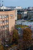 Cherkasy, Ukraine - 16. Oktober 2014: Ansicht von Shevchenko-Boulevard vom Dach lizenzfreies stockfoto