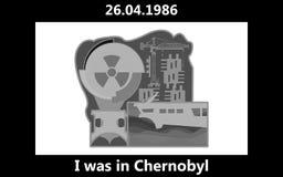 Chernóbil, el 26 de abril de 1986 letras negras de la tinta fotos de archivo