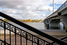 Chernavskii bridge in Voronezh Royalty Free Stock Photos