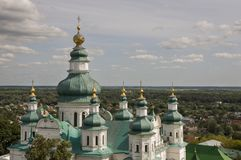Chernigov, Ukraine.  August 15, 2017. Christian orthodox white church with green domes and gold crosses. View from high. Calm sky Royalty Free Stock Images