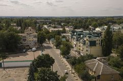 Chernigov, Ukraine. August 15, 2017. Small buildings and streets. View from the top high.  stock images