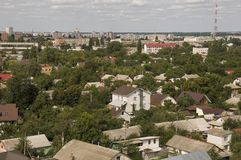 Chernigov, Ukraine.  August 15, 2017. Small buildings and streets. View from the top high.  Royalty Free Stock Photos