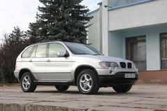 Chernigov, Ukraine - November, 2017. Gray off-road car BMW X5. A private car parked on the sidewalk. Gray off-road car BMW X5. A private car parked on the stock photography