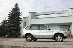 Chernigov, Ukraine - November, 2017.Gray off-road car BMW X5. A private car parked on the sidewalk. Gray off-road car BMW X5. A private car parked on the royalty free stock photography