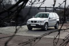 Chernigov, Ukraine - November, 2017. Gray off-road car BMW X5. A private car parked on the sidewalk. Gray off-road car BMW X5. A private car parked on the stock images