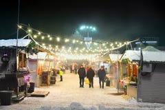 Chernihiv, de Oekraïne - December 21, 2018: De Markt van het nieuwjaar in het stadscentrum royalty-vrije stock afbeelding