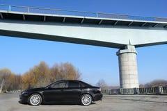 Chernihiv Ukraina, Listopad, - 10, 2018: Czarny Mazda 6 MPS agains zdjęcie stock