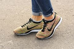 Chernihiv, Ukraine - April 19, 2019: Close-up Nike sneakers. Women`s shoes royalty free stock photography
