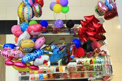 Shop of color balloons and sweets. Chernihiv / Ukraine. 24 August 2017: shop of different multicolored balloons and sweets. View from above. 24 August 2017 in Royalty Free Stock Image