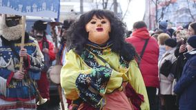 Chernivtsi - Ουκρανία - 15 Ιανουαρίου 2017 Οι παραδοσιακές ετήσιες ημέρες του λαογραφία-εθνογραφικού φεστιβάλ Malanka Χριστουγένν φιλμ μικρού μήκους