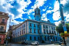 Chernivtsi Central Square 01. Chernivtsi Tsentralna Central Square Ratusha City Hall Picturesque Breathtaking Side View stock images