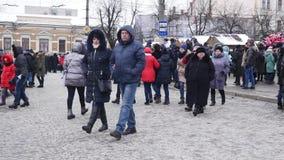 Chernivtsi - l'Ukraine - 15 janvier 2018 les jours annuels traditionnels du festival folklore-ethnographique Malanka de Noël clips vidéos