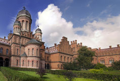 Chernivtsi, Ukraine. Landmark in Chernivtsi, Ukraine, orthodox church at University (the former Metropolitans residence Stock Photo