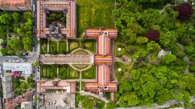 CHERNIVTSI, UKRAINE - April, 2017: Residence of Bukovinian and Dalmatian Metropolitans. Chernivtsi National University from above. CHERNIVTSI, UKRAINE - April stock photos