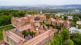 CHERNIVTSI, UKRAINE - April, 2017: Residence of Bukovinian and Dalmatian Metropolitans. Chernivtsi National University from above. CHERNIVTSI, UKRAINE - April stock photo