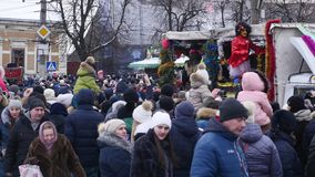 Chernivtsi - Ukraine - January 15, 2018 The traditional annual days of Christmas folklore-ethnographic festival Malanka. Fest 2018 n the Ukrainian city of stock footage