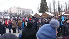 Chernivtsi - Ukraine - January 15, 2018 The traditional annual days of Christmas folklore-ethnographic festival Malanka. Fest 2018 n the Ukrainian city of stock video footage
