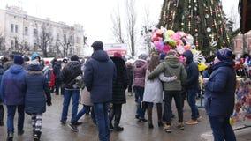 Chernivtsi - Ukraine - January 15, 2018 The traditional annual days of Christmas folklore-ethnographic festival Malanka. Fest 2018 n the Ukrainian city of stock video