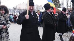 Chernivtsi - Ukraine - January 15, 2018 The traditional annual days of Christmas folklore-ethnographic festival Malanka. Fest 2018 n the Ukrainian city of stock video footage