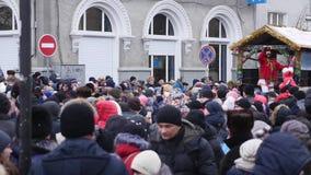 Chernivtsi - Ukraine - January 15, 2018 The traditional annual days of Christmas folklore-ethnographic festival Malanka. Fest 2018 n the Ukrainian city of stock footage