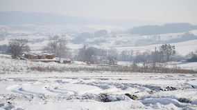 21.01.2018, Chernivtsi, Ukraine - Landscape with winter trees, snowy mountains and clouds. Landscape with winter trees, snowy mountains and clouds stock footage