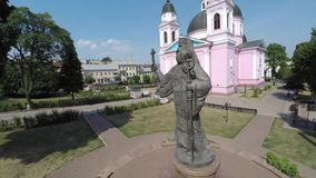 CHERNIVTSI, UKRAINE Monument of Metropolitan Eugene (Hakman). First Orthodox bishop of Bukovina and Dalmatia. It was unveiled on March 12, 2006 near the Holy Stock Photo