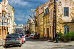 Chernivtsi, Ukraine. Old street in Chernivtsi, Ukraine Royalty Free Stock Image