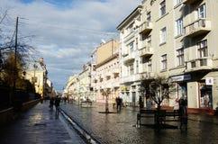 Chernivtsi,Ukraine,Olga Kobylyanska avenue after rain - the only one pedestrian street in town Stock Photo