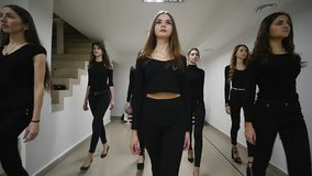 26.12.2017 Chernivtsi, Ukraine - Young models have repetition in dancing class before fashion show stock video
