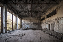 Chernobyl - Abandoned basketball court Royalty Free Stock Images