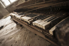 Chernobyl - close-up of an old piano Royalty Free Stock Photo
