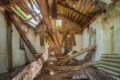 Chernobyl Disaster. Ruined Abandoned Private Country House With Royalty Free Stock Photography