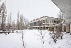 Chernobyl Exclusion Zone. CHERNOBYL REG, UKRAINE - Nov 29, 2016: Chernobyl Exclusion Zone. Lost city. Ruins of buildings in the abandoned city of Pripyat. Winter Stock Photos