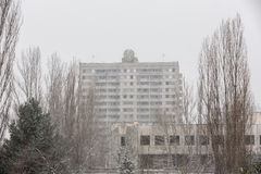 Chernobyl Exclusion Zone. CHERNOBYL REG, UKRAINE - Nov 29, 2016: Chernobyl Exclusion Zone. Lost city. Ruins of buildings in the abandoned city of Pripyat. Winter Royalty Free Stock Images