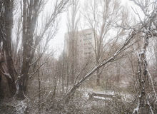 Chernobyl Exclusion Zone. CHERNOBYL REG, UKRAINE - Nov 29, 2016: Chernobyl Exclusion Zone. Lost city. Ruins of buildings in the abandoned city of Pripyat. Winter Stock Photography