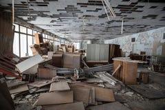 Chernobyl Exclusion Zone. CHERNOBYL REG, UKRAINE - Nov 29, 2016: Chernobyl Exclusion Zone. Lost city. Ruins of buildings in the abandoned city of Pripyat. Winter Royalty Free Stock Photos