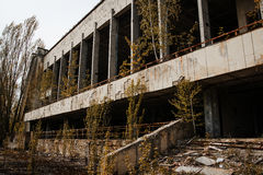 Chernobyl exclusion zone with ruins of abandoned pripyat city zo. Ne of radioactivity ghost town Royalty Free Stock Photography
