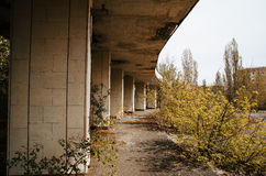 Chernobyl exclusion zone with ruins of abandoned pripyat city zo. Ne of radioactivity ghost town Stock Image