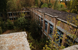 Chernobyl exclusion zone with ruins of abandoned pripyat city zo. Ne of radioactivity ghost town Royalty Free Stock Image