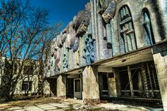 Old abandoned house in the ghost town of Pripyat, Ukraine. Consequences of a nuclear explosion at the Chernobyl nuclear power plan. Chernobyl Exclusion Zone royalty free stock photography