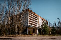 Old abandoned house in the ghost town of Pripyat, Ukraine. Consequences of a nuclear explosion at the Chernobyl nuclear power plan. Chernobyl Exclusion Zone royalty free stock images