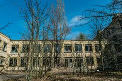 Old abandoned hospital in the city of Pripyat, Ukraine. Consequences of a nuclear explosion at the Chernobyl nuclear power plant. Chernobyl Exclusion Zone royalty free stock image