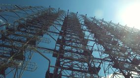 Duga Radar Array Famous Russian Woodpecker System from Cold War. Chernobyl Exclusion Zone, Ukraine. Duga Rara Array Known as Russian Woodpecker, Huge Soviet stock video